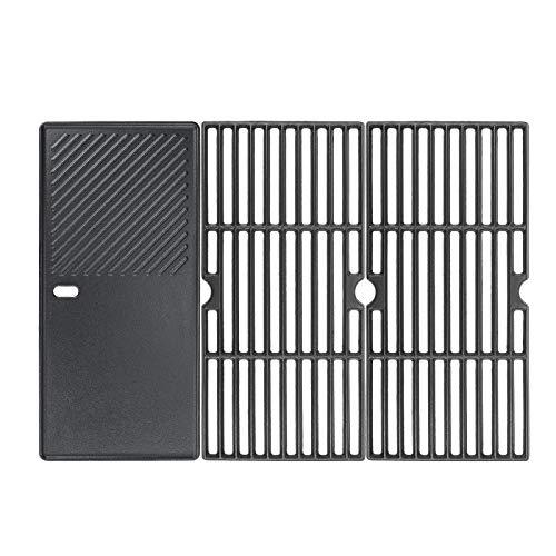 GFTIME 7883 66123 Grillplatte aus Gusseisen (1/3) / Rost (2/3) für Gasgrill Boston, Schwarz, BBQ Gasgrill Ersatzteile für die meisten Grillmodelle, 3er-Pack