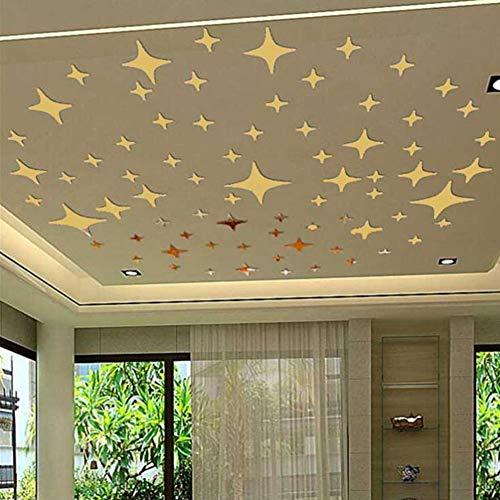Gofeibao Espejos Adhesivos Decoration Pared De la Pared de Dormitorio Decoración Dormitorio Pegatinas de Pared Decoración de la habitación Gold