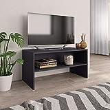 vidaXL Mueble TV Estante Mesa Baja Televisión Aparador Televisor Módulo Diseño Simple Compartimento Salón Habitación Comedor Sala Aglomerado Gris