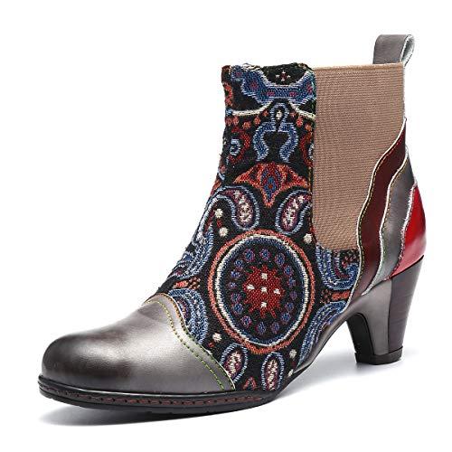 Camfosy Bottines Cuir Femmes Talons, Bottes Chelsea en Cuir Boots Chelsea Bout Pointu Chaussures de Ville Hiver à Talons Hauts Confortable Originales