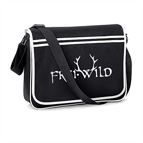 Frei.Wild - Retro Tasche mit Schaumdruck, schwarz
