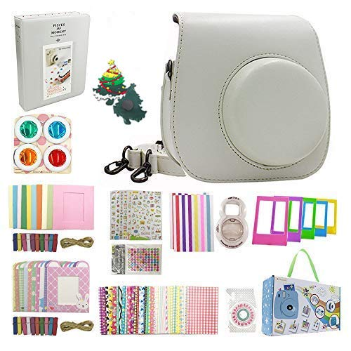 Instax Mini 9 Accessories, Nishow Accessory Kit for Instax Mini 9 Mini 8 8+ Instant Camera Include Instax Mini 9 Case Film Album Lenses Color Filters Kinds of Frames and Stickers - Smoky White …