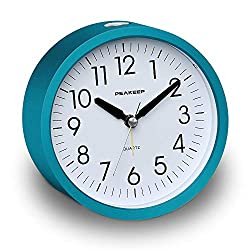 Peakeep Battery Operated Alarm Clock Silent Non Ticking, Gentle Wake, Increasing Alarm Clock Volume, Easy Set (Turquoise Blue)