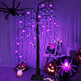 TURNMEON 5 Feet Lighted Halloween Tree Decor with Timer,108 LED Black Scary Willow Tree Purple Lighted 24 Spiders Ornaments Halloween Decorations Outdoor Indoor Holiday Home Yard Garden(Adapter/Timer)