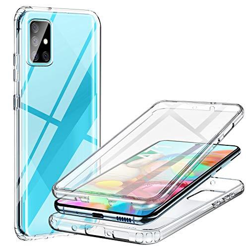 ivencase Samsung Galaxy A71 Hülle, Stoßfest Cover A71 360 Grad vollschutz Handyhülle Rugged Schutzhülle A71 mit eingebautem Bildschirmschutz Stürzen Stößen Handyhülle (transparent)
