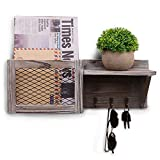 Shikha Wall Mounted Mail Holder Wood with 3 Key Hooks Wooden Mail and Key Sorter Organizer and A Floating Shelf Rustic Letter Bills Storage Home Decor for Entryway Mudroom Hallway (Rustic Grey)
