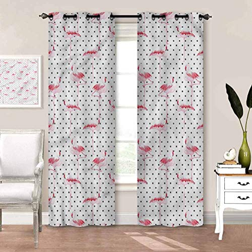 painting-home Printed Curtains Retro, Flamingo Birds Polka Dots Hotel Curtains Good for Blocking Air Flow/Temp Change Between Rooms W72 x L84 Inch
