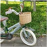 VPPV Cesta de Bicicleta Delantera Niños, Clásico Vintage Tejidas a Mano Mimbre de Ratán Desmontable Rápido Accesorio de Bici (Color : D)