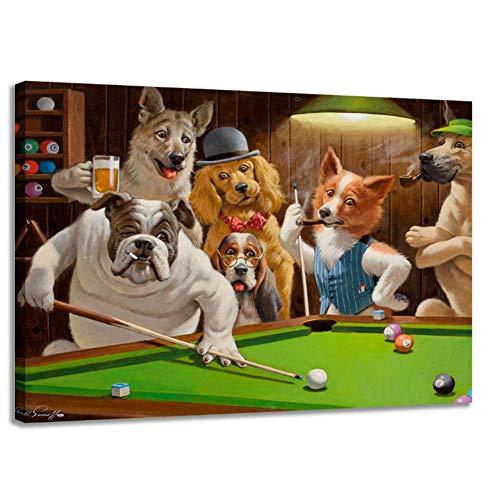 nr hond spelen billard gott snooker olieverfschilderij kunst huis decoratie poster op canvas wand canvas printing 50x70cm No Frame