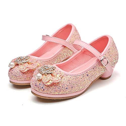 YOSICIL Niñas Zapatos Princesa de Lentejuelas de Tacón Alto Zapatilla de Baile...