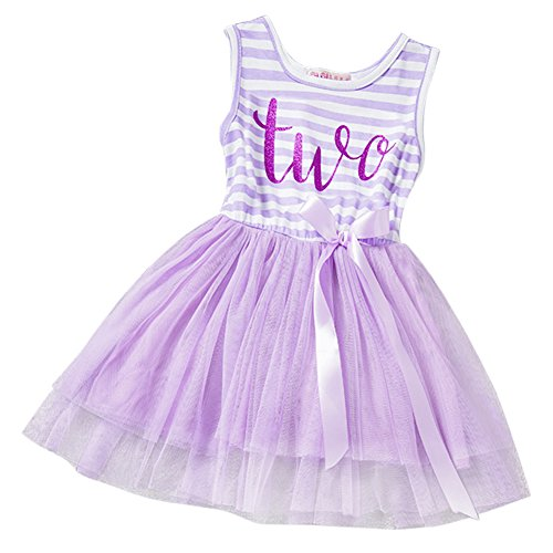 Baby Girls Crown Princess Striped 1st/2nd Birthday Cake Smash Shiny Printed Party Tulle Tutu Dress Toddler Kids Outfit Lavender(Two Year) One Size
