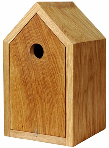 Luxus-Vogelhaus 46760e Designer Nistkasten für Vögel, aus Holz (Eiche, Massivholz), für Garten, Balkon, mit Spitzdach, Farbe: Natur - Nisthilfe Vogelhaus