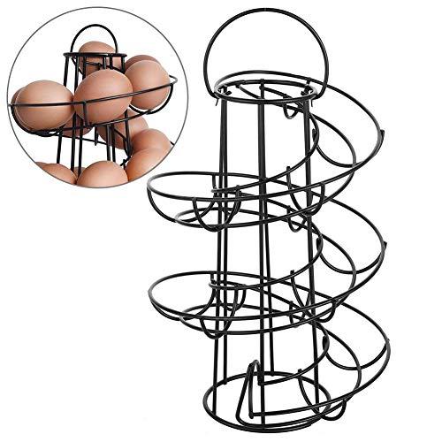 zitong Kitchen Storage Spiral Helter Skelter Egg Holder Stand Rack, Rotating Spiral Egg Holder, Metal Egg Skelter Dispenser Rack,Storage Display Rack, Holds Up to 18 Eggs