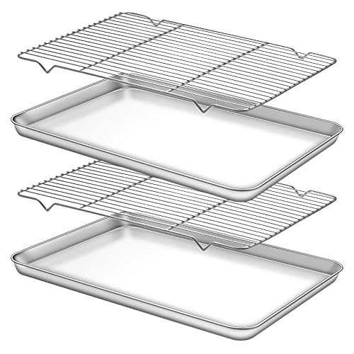 Deedro Baking Sheet with Rack Set [2 Sheets + 2 Racks], Stainless Steel Cookie Half Sheets Baking Pan Oven Tray with Cooling Rack, 17.32 x 12.28 x 1 Inch, Heavy Duty, Non-toxic, Easy Clean