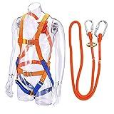 Sanmum Arnés de seguridad de cuerpo completo, arnés de 5 puntos, ajustable para escalada, equipo de protección personal universal para trabajo de techo, escalada, naranja