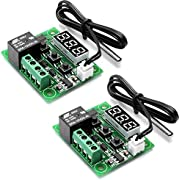 HiLetgo 2pcs W1209 12V DC Digital Temperature Controller Board Micro Digital Thermostat -50-110°C Electronic Temperature Temp Control Module Switch with 10A One-channel Relay and Waterproof