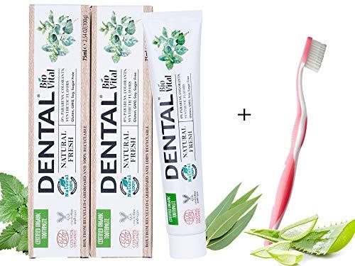 DENTAL Herbal Dentrificio Aloe Vera 100% Natural Toothpaste | ECOCERT | Protezione Smalto & Antiplacca Denti | Best Teeth Care for Happy Family| Vegan Oral Igene | Pack of 2 x 75ml
