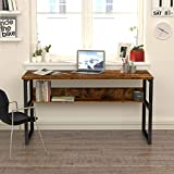 Computer Desk with Bookshelf 55' Large Computer Table with Storage Shelves Modern Work Desk with 1.18' Thicker Tabletop and Strong Metal Frame Rustic Office Desk for Home Office (Rusty)