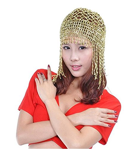 ZYZF Womens Tribal Exotic Cleopatra Jewelry Shiny Beaded Belly Dance Head Cap Egyptian Costume Accessory (Light Golden)