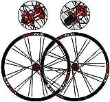 DZGN Juego de Ruedas de Bicicleta de montaña 26'MTB Bicicleta de Doble Pared Llanta de aleación Freno de Disco de liberación rápida Rodamientos sellados 7 8 9 10 Velocidad 24H F1077g R1265g, Rojo, A