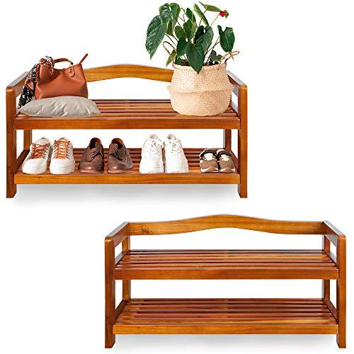 Deuba 2er Set Schuhregal Holz Akazie 2 Etagen Platz für 24 Paar Schuhe Schuhständer Schuhablage Holzregal Blumenregal