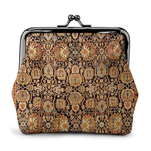 Antike Persian Malayer Teppich Damen Leder Exquisite Münzgeldbörse Kiss Lock Little Change Geldbörse 4,52 'x 4,13' Zoll