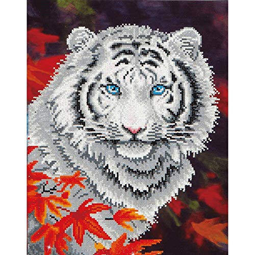 DIAMOND DOTZ Complete Diamond Facet Art Kit White Tiger in Autumn