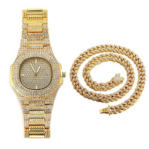 Halukakah Diamante Reloj de Oro Hombres,Chapado en Oro Real de 18k Pulsera de Cuarzo 24cm,con Collar Cubana 45cm,Cz Completo Diamante de Laboratorios,Gratis Caja de Regalo