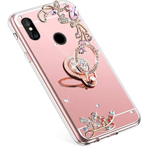 Uposao Compatible con Xiaomi Redmi S2 Funda Mirror,[ 360 Grado Anillo Soporte ],Flores Strass Brillante Brillo Diamante Glitter Funda TPU Silicona Suave Flexible Funda Caja Carcasa,Rose Gold