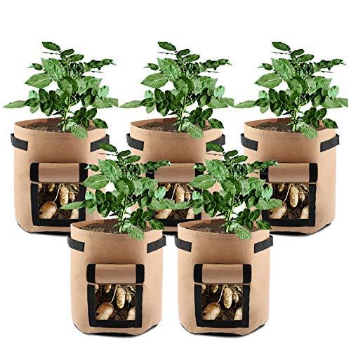 LiveGo Bolsa de cultivo de patatas, paquete de 5 bolsas de j