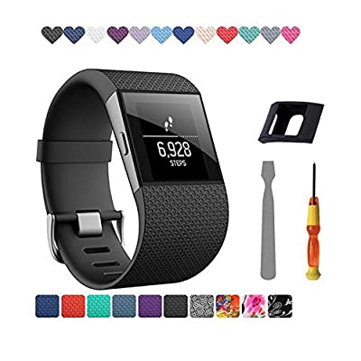 HXTX Fnms Compatible Bands Replacement for Fitbit Surge Band Tracker WatchBand Wrist Band Wristband Silicone Accessories with Tool