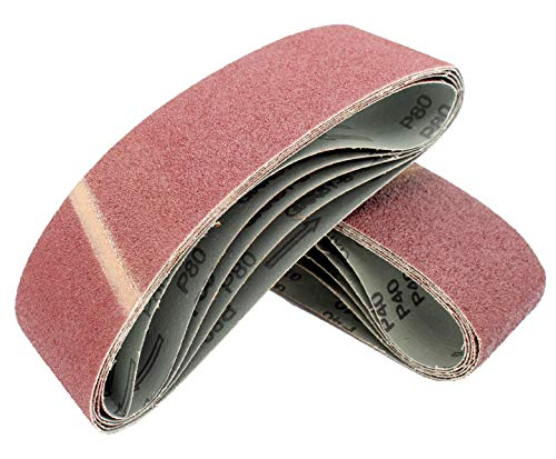 Cinturones de Lijado de Tela │ 10 piezas │ 75 x 533 mm │ grano 80 │ para para amoladoras de cinta │ Papel de Lija │ Juego de Correas de Lijado