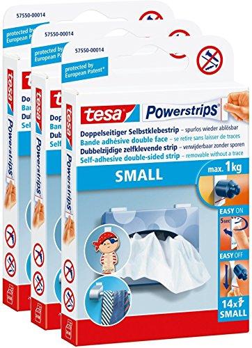 3 Packungen tesa Powerstrips Strips SMALL für max. 1kg, Packung mit insgesamt 42 Strips