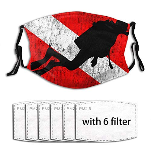 Comfortable Adjustable Diver On Dive Flag Diving Gifts Face Mask with Filter Pocket Washable Reusable Face Bandanas Balaclava