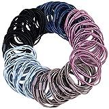 50 elastici per capelli neri 3 in 1, per ragazze, elastici per capelli per coda di cavallo, supporto per capelli spessi, ricci, accessori per acconciature da donna