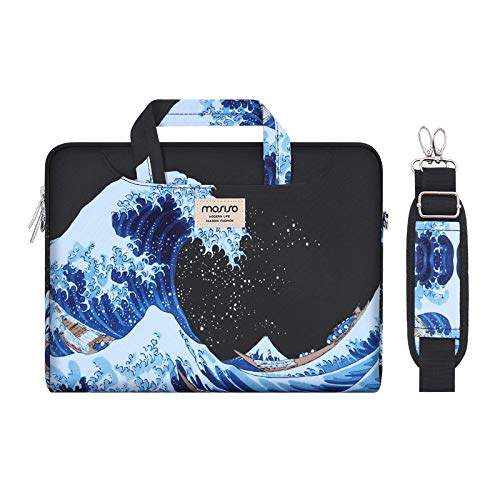MOSISO Laptop Shoulder Bag Compatible with 13-13.3 inch MacBook Pro, MacBook Air, Notebook Computer, Sea Wave Carrying Briefcase Sleeve Case with Trolley Belt