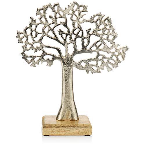 com-four® Árbol Decorativo - Árbol de Metal sobre Base de Madera - Árbol Decorativo de Metal para Colocar - Árbol de la Vida para Regalar (1 Pieza - árbol)