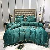 funda nordica cama 90,60 Lavado de agua Seda Bordado Sistema de cuatro piezas, cómodo sábana reversible de la cama de la cama de la chaqueta de almohada regalo-GRAMO_Cama de 2.0m (4 piezas)