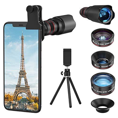 Selvim Kit d Objectif Smartphone, Téléobjectif x22, Objectif Macro x25, Objectif Fisheye 235° , Objectif Grand Angle x0.62, Lentilles Blu-ray, Photographie Amusante, Compatibilité Universelle