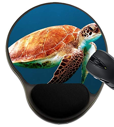 MSD Mousepad Wrist Rest Protected Mouse Pads/Mat with Wrist Support, Design for Sea Nature Animal Turtle Ocean Underwater Reef Blue Water Marine Aquatic Di
