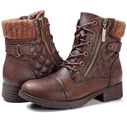 STQ Women's Warm Boots Ankle Lace up Short Combat Boot Slip on Winter Low Heel Booties Brown 10