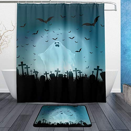 Ghost and Bat in Cemetery Halloween Shower Curtain Set