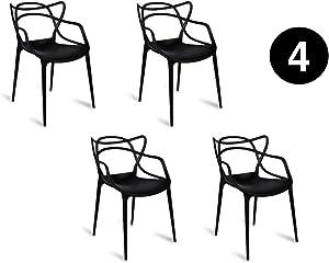 IBH DESIGN Lot 4 Chaises Miami – Noires – inspirée Masters