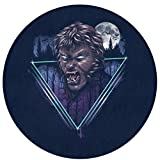 Retro 80s Spooky Wolf Man Werewolf Indoor Outdoor Rug Round 6060cm Front Door Mat Waterproof, Non Slip Washable Quickly Absorb Moisture and Resist Dirt Rugs for Entryway