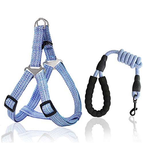 Dog Leashes with Harness, No-Pull Pet Harness with 2 Leash Clips, Adjustable Soft Padded Dog Vest and Leash with Handles,Walking Training Pet Leash