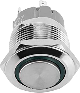 Aramox 12V LED Power Push Button Switch, Momentary Type LED Light Emergency Warning Push Button Stainless Steel Switch Socket Plug