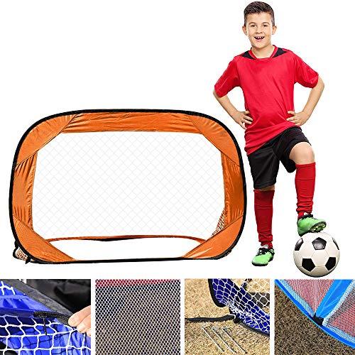Goal di Calcio, Fold-up Portatile Obiettivo Formazione di Calcio con la Terra Nail aiutarvi a Migliorare Il Vostro Allenamento, tiro, abilità difensive - per la casa, all'aperto, Cortile,Arancia