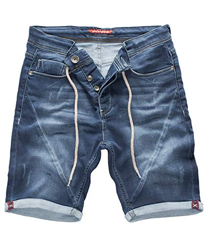 Rock Creek Herren Sweat Shorts Jeansshorts Denim Short Kurze Hose Herrenshorts Sommer Sweatshort Stretch Bermudas Blau RC-2200 Explorer Blue W32