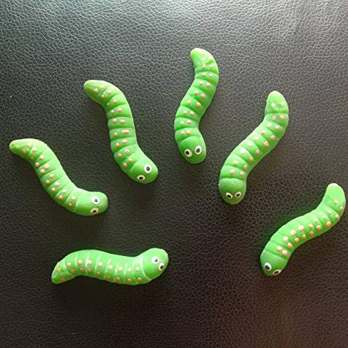 Max corner Rubber Green Worm Caterpillar , 6 Pcs Realistic Fake Reptile Toy Animal Figure for Prank Joke Prop Gag Party