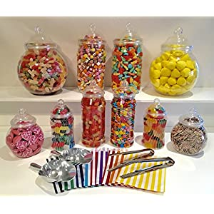 large 10 mixed plastic sweet jars, 2 tongs, 2 scoops, 100 bags - vintage victorian pick & mix sweet shop candy buffet kit party pack (pink) Large 10 Mixed Plastic Sweet Jars, 2 Tongs, 2 Scoops, 100 Bags – Vintage Victorian Pick & Mix Sweet Shop Candy Buffet… 51MdkMGSiOL